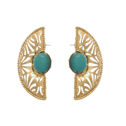 Jfl - Jewellery For Less Jfl - Modern & Ethnic Gold Designer Green Earrings For Women/Girls