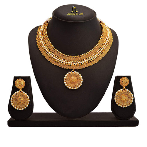 JFL - Traditional Ethnic One Gram Gold Plated Pearl Spiral Designer Necklace Set with Earring for Women and Girls.