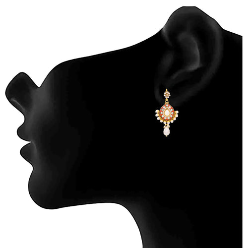 JFL - Traditional Ethnic One Gram Gold Plated Pearls & Diamond Designer Earring for Women & Girls.