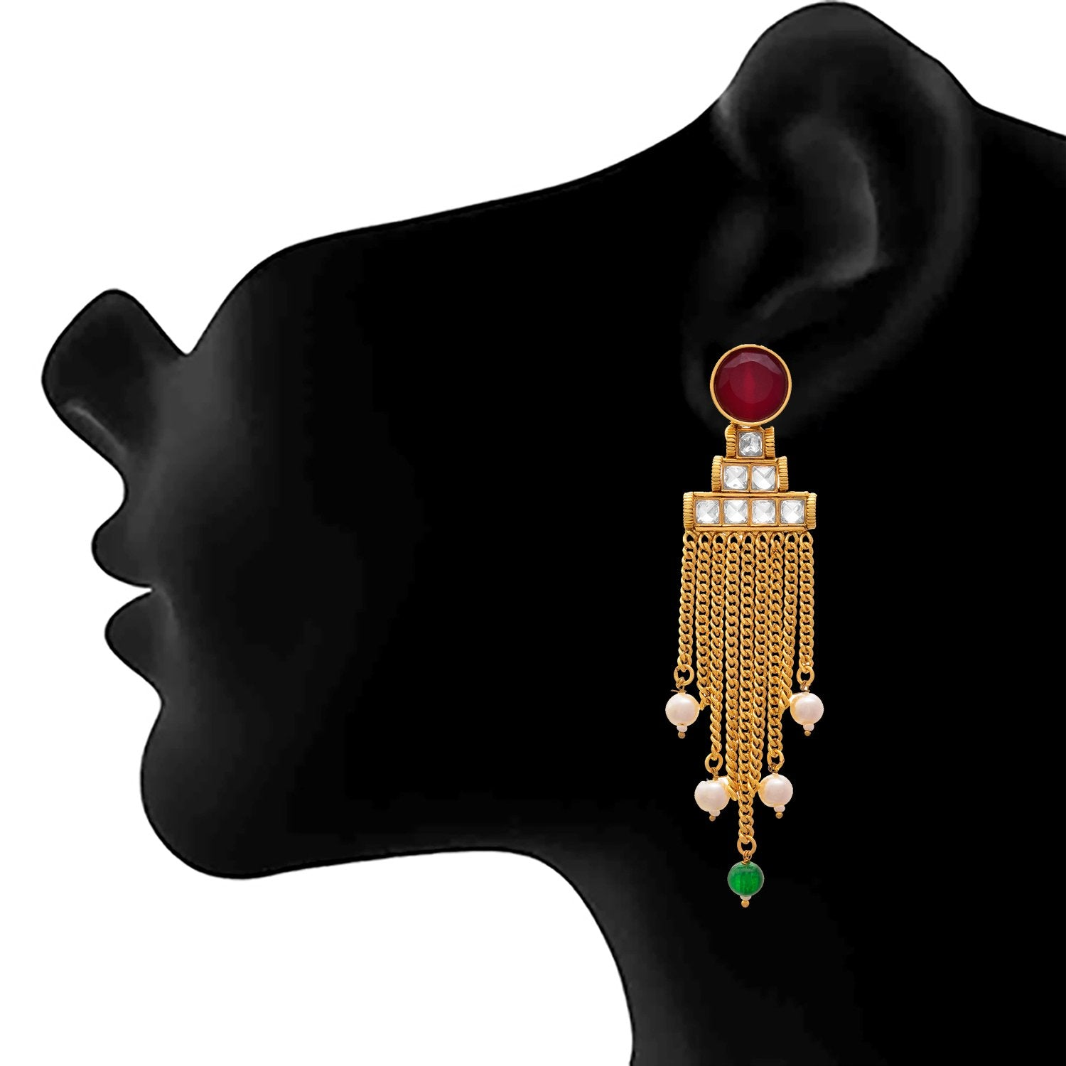 JFL - Traditional Ethnic One Gram Gold Plated Stone & white Pearls Designer Earring for Girls and Women. (RED, WHITE)