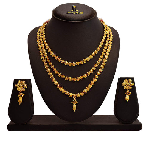 JFL - Traditional Ethnic One Gram Gold Plated Designer Necklace Set with Earring for Women and Girls