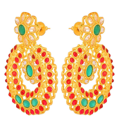 JFL - Stylish Ethnic One Gram Gold Plated Lcd/Champagne Diamond Designer Earring for Women & Girls