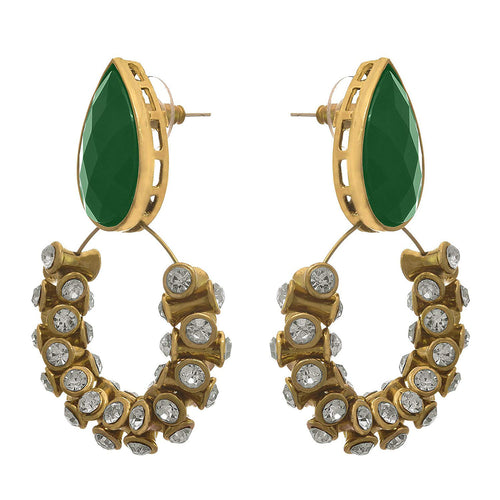JFL - Traditional and Ethnic One Gram Gold Plated Stone Designer Earring for Girls and Women.