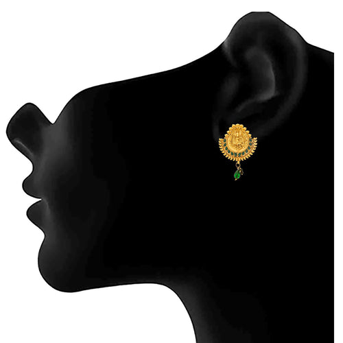 JFL- Traditional Ethnic One Gram Gold Plated Temple Mahalaxmi Green Stone Designer Earrings for Women & Girls.