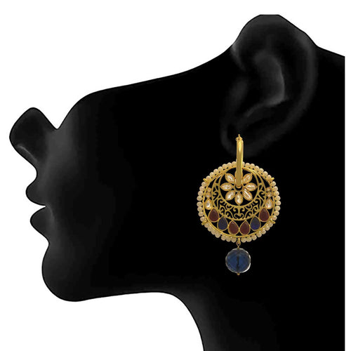JFL - Traditional and Ethnic One Gram Gold Plated Kundan Stone & Pearls Designer Earring for Girls and Women.