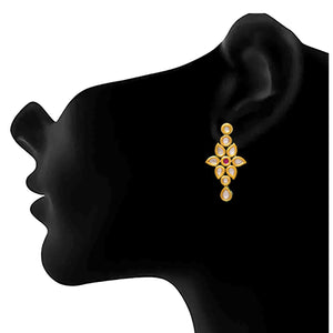JFL - Jewellery for Less Traditional Ethnic One Gram Gold Plated Kundan Earring For Women & Girls.