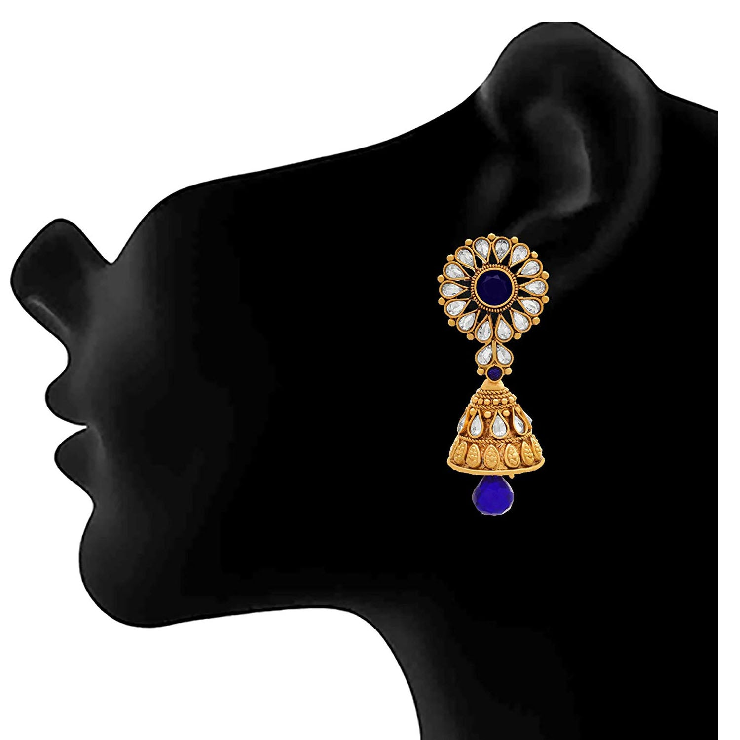 JFL - Jewellery for Less One Gram Gold Plated Sapphire Stone & Champagne Diamond Designer Earring for Girls & Women