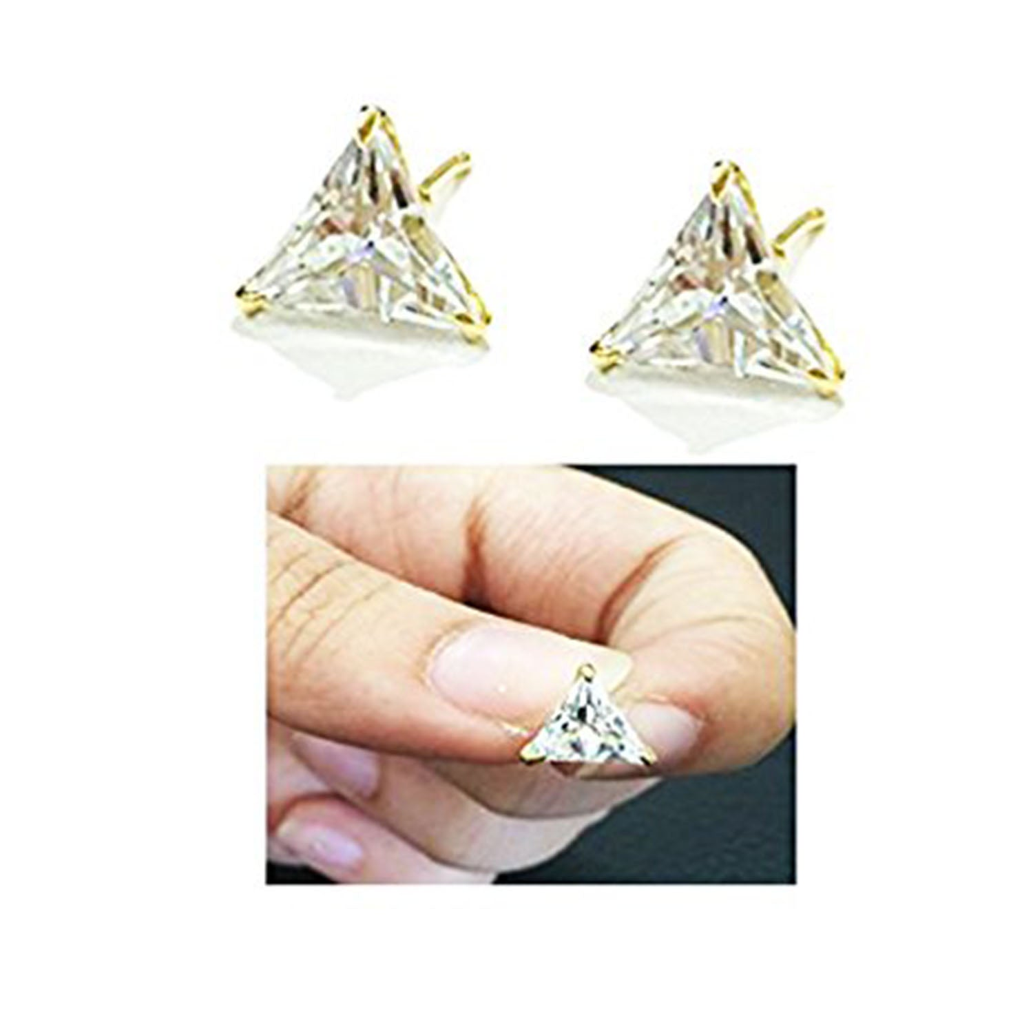 BFC-Stylish American Diamond Gold Plated White small Stud for woman and girls