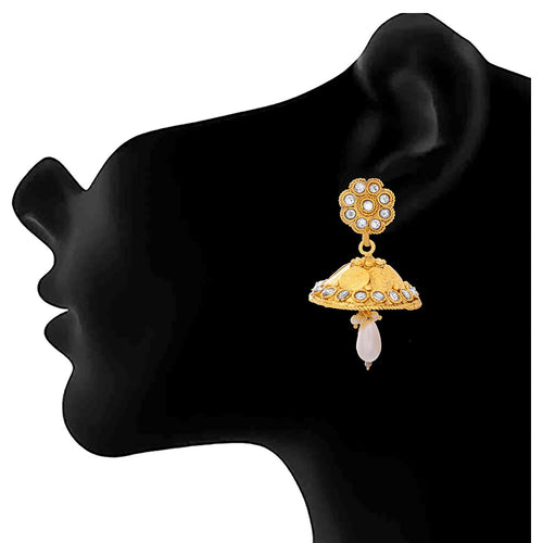 JFL - Jewellery for Less One Gram Gold Plated Goddess Laxmi Coin Designer Earring For Women & Girls