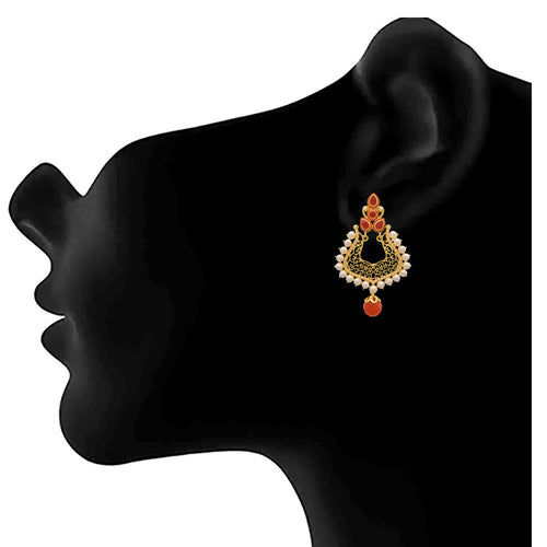 JFL - Jewellery for Less Traditional Ethnic One Gram Gold Plated Pearls Earring For Women & Girls.