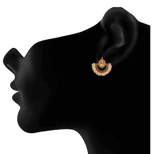JFL - Jewellery for Less Traditional Ethnic Temple Mahalaxmi One Gram Gold Plated Pearls Earrings For Women And Girls