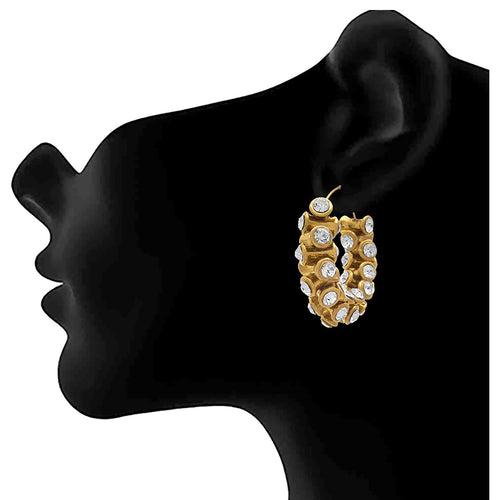 JFL - Traditional Ethnic One Gram Gold Plated Diamond Designer Bali Earring for Women & Girls