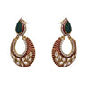 JFL - Beautiful Red n Green One Gram Gold Plated Earring Studded with Polki, Diamond for Women