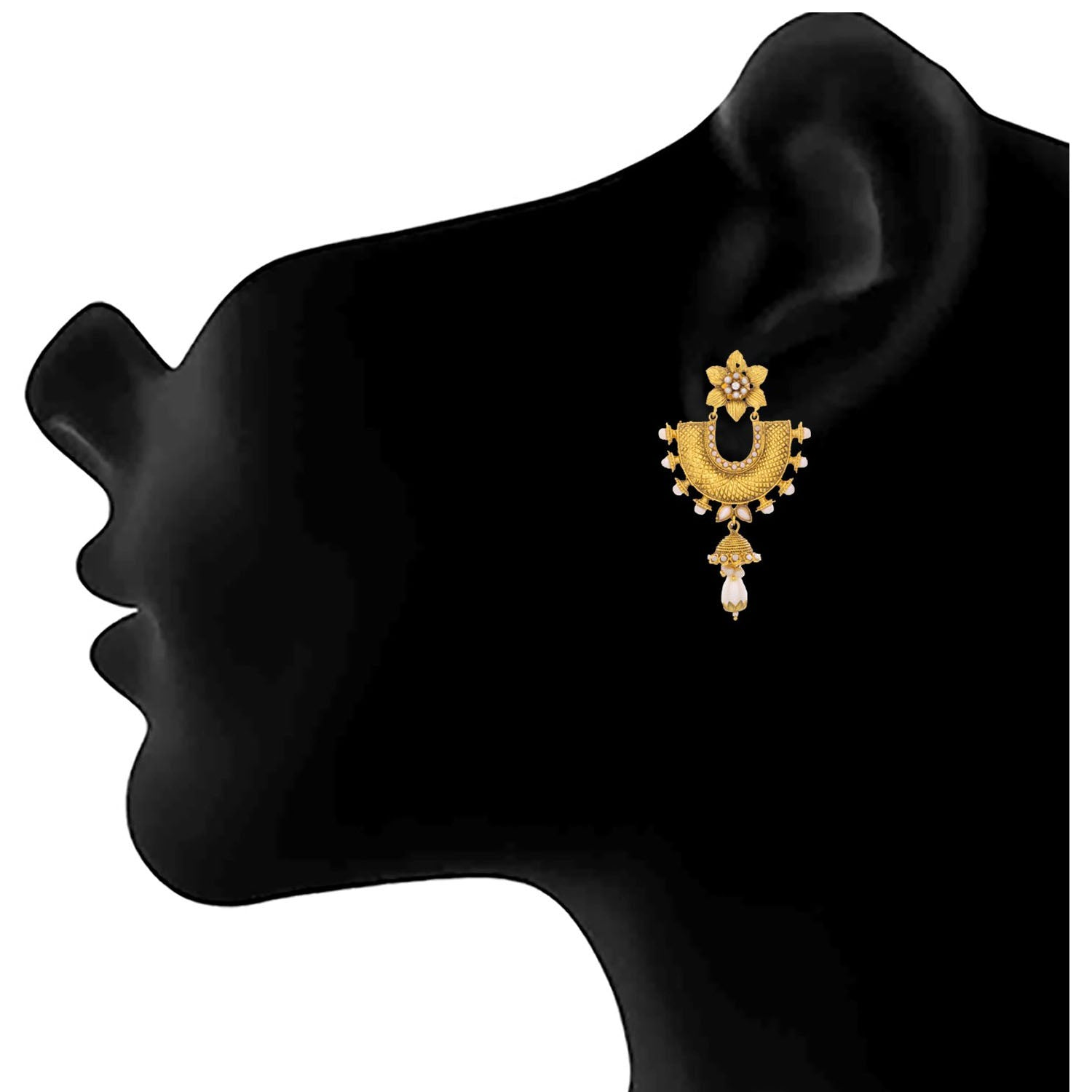 Jfl- Traditional Ethnic One Gram Gold Plated Pearl Earrings For Women And Girls.