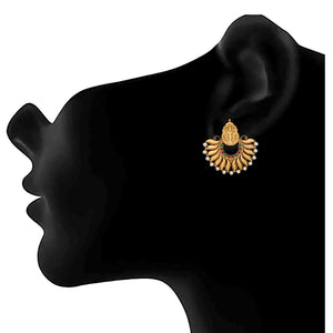 JFL- Traditional Ethnic One Gram Gold Plated Temple Mahalaxmi Pearl Designer Earrings for Women & Girls.