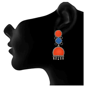 Traditional Ethnic Handmade German Silver Plated Oxidised Meenakari Designer Dangle & Drop Earring For Women & Girls.