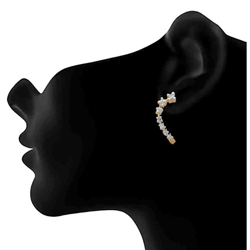 JFL - Fusion Ethnic One Gram Gold Plated Cz American Diamond Designer Earring for Girls and Women.