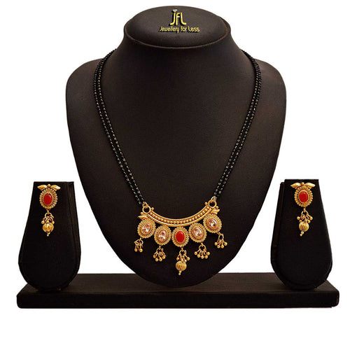 JFL - Jewellery for Less Traditional Ethnic One Gram Gold Plated Cz American Diamond Designer Red Mangalsutra Jewellery Set with Earring for Women