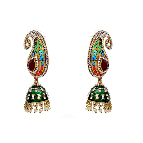 JFL - Fusion Ethnic Kaerie One Gram Gold Plated Austrian Diamond Meenakari Designer Earrings for Women & Girls