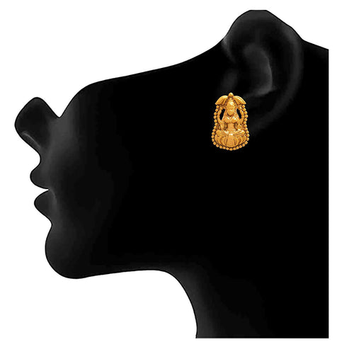 JFL-Traditional Ethnic One Gram Gold Plated Goddess Laxmi Designer Designer Earring For Women & Girls.