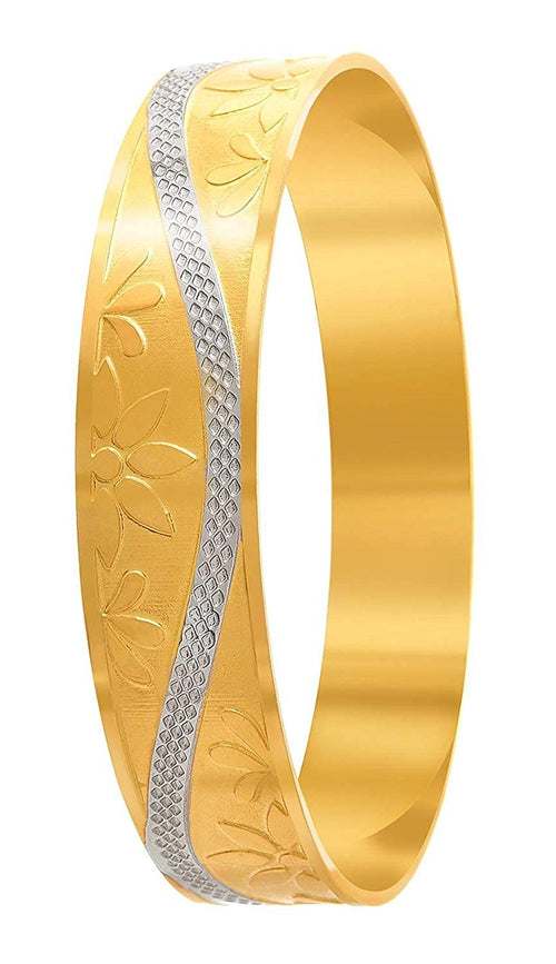 JFL - Jewellery For Less Traditional Designer Gold Plated Flower Work Bangle Kada For Women's