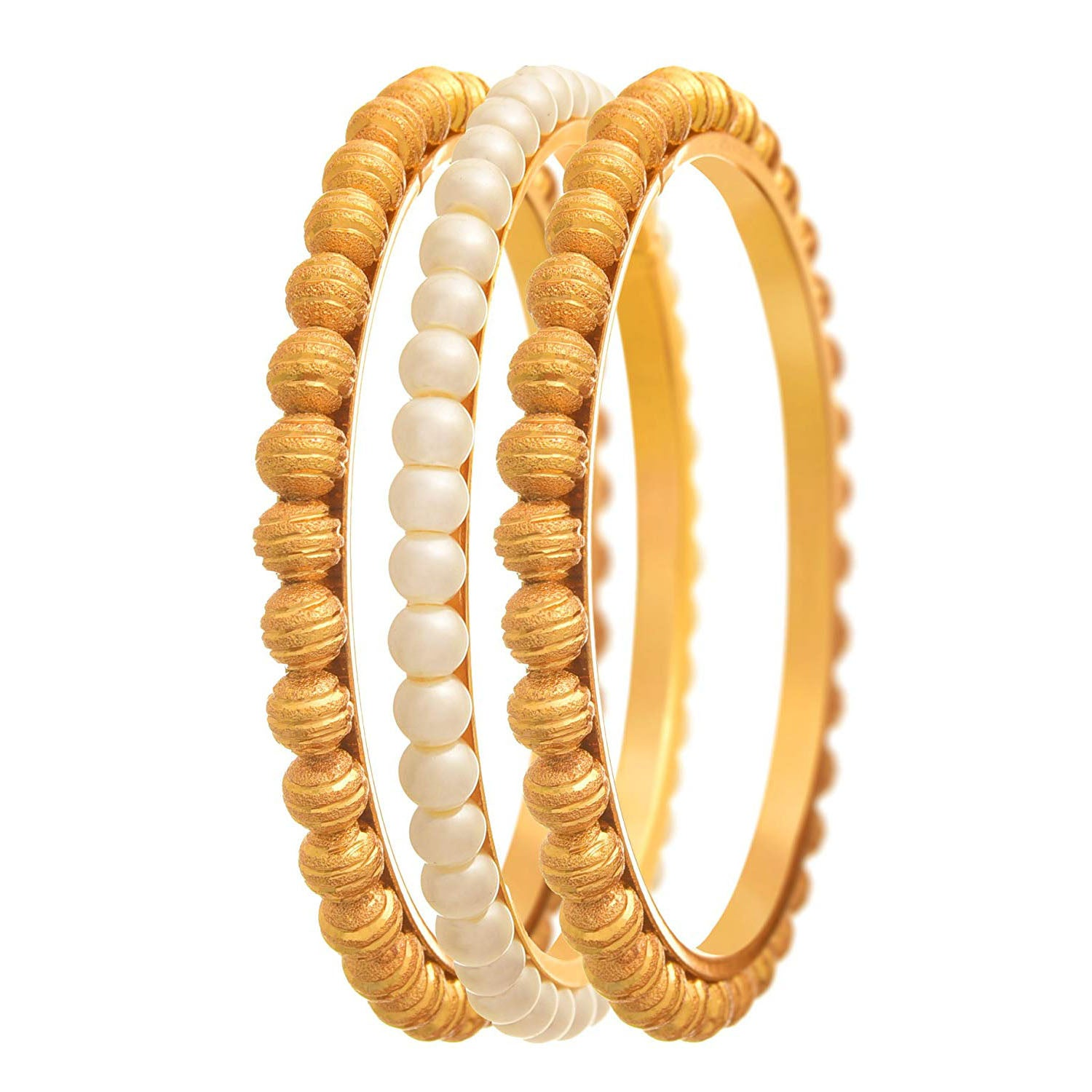 JFL - Traditional Ethnic One Gram Gold Plated Golden Bead & Pearl Designer Bangle Set for Women & Girls