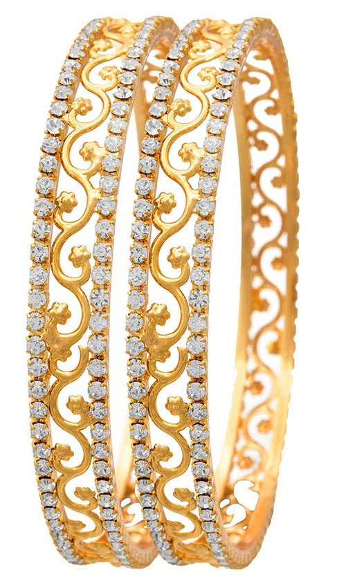 JFL-White Austrian Diamond One Gram Gold Plated Designer Bangle Set for Girls and Women.