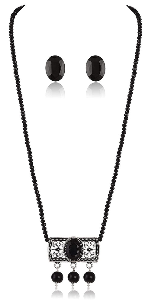 JFL - Jewellery for Less Modern Fusion German Silver Oxidised Pendant with Onyx Crystal Chain and Earring for Girls & Women - Party Casual Wear