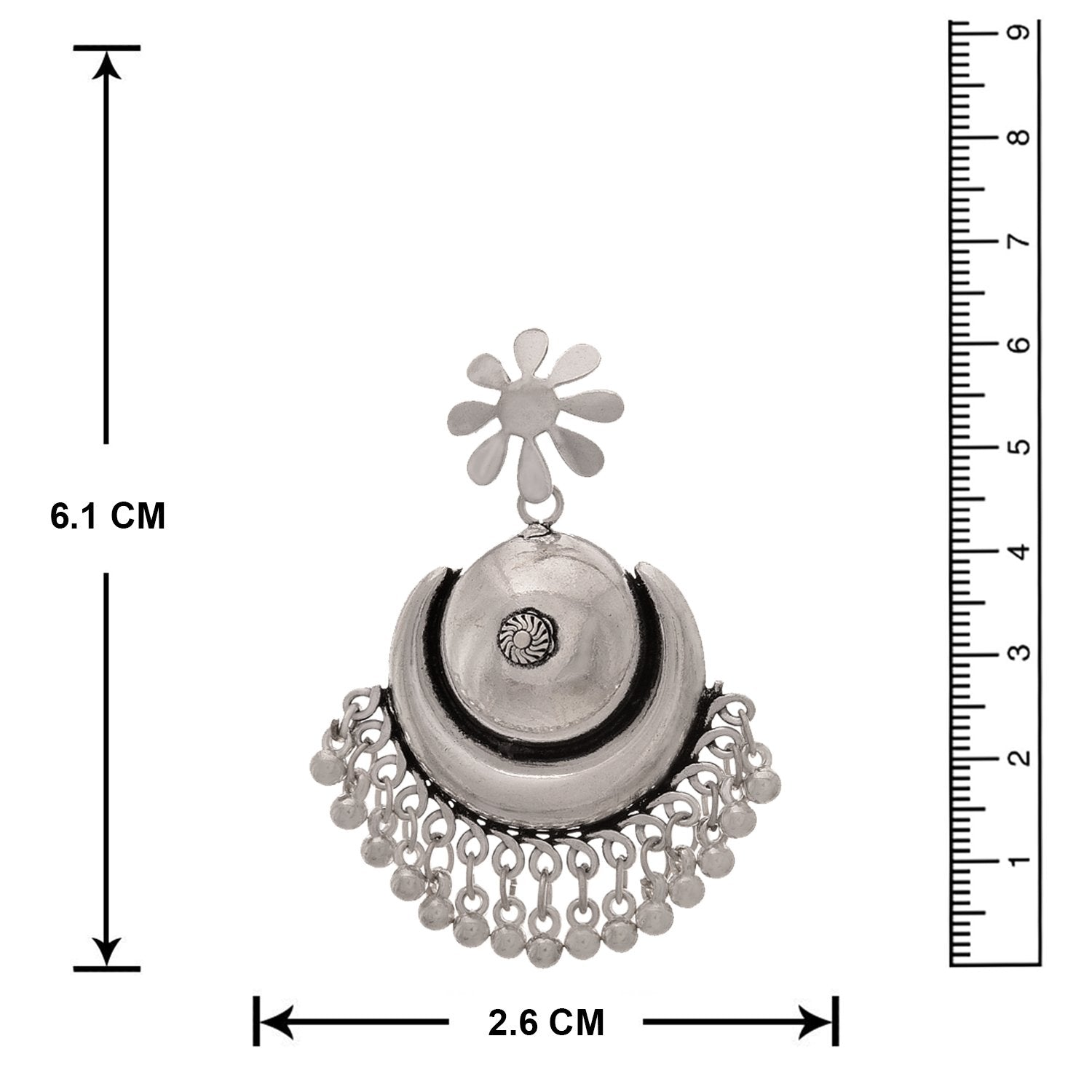 JFL - Traditional Ethnic Handmade German Silver Plated Oxidised Earring for Women & Girls.