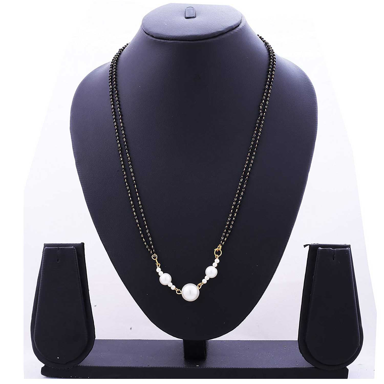 JFL- Stylish One Gram Gold Plated Pearl Black Beads Mangalsutra For Woman And Girls CHAIN 24 INCHES