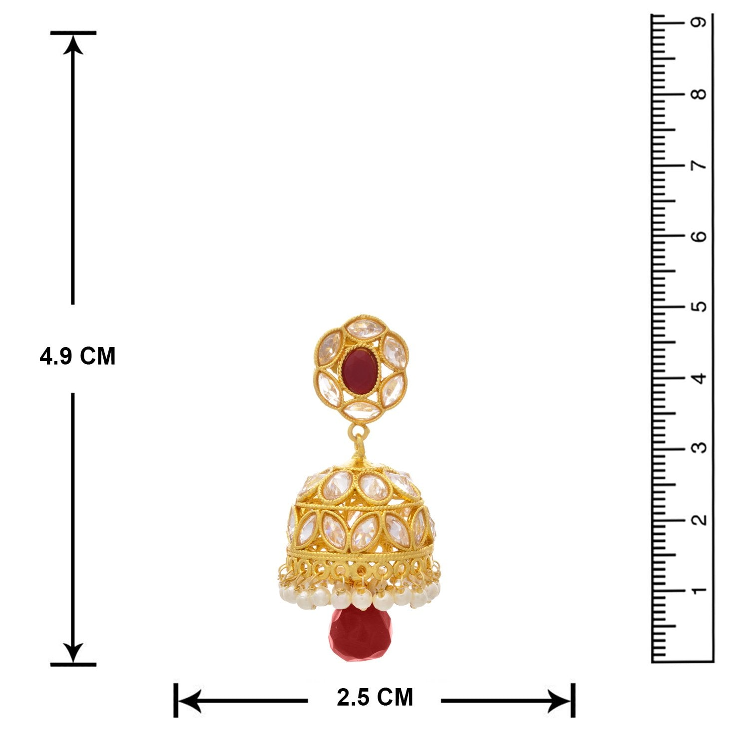 Traditional Ethnic One Gram Gold Plated Cz American Diamond Red Stone Pearl Designer Jhumki Earring for Women & Girls