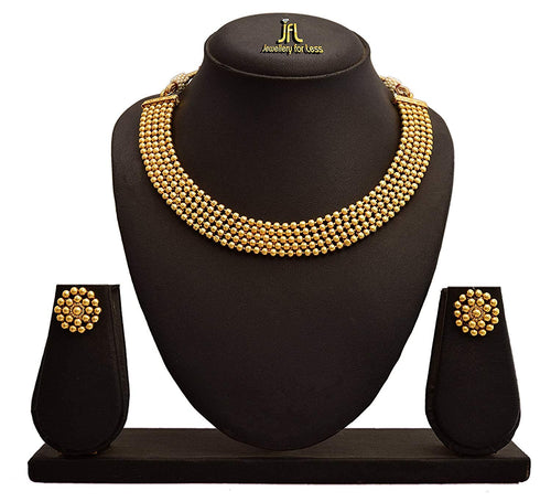 JFL - Traditional Ethnic Designer Gold Plated Beaded Necklace Set for Women and Girls