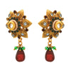 JFL - Traditional Ethnic One Gram Gold Plated Diamond & Stone With Kundan Floral Designer Earring for Women & Girls.