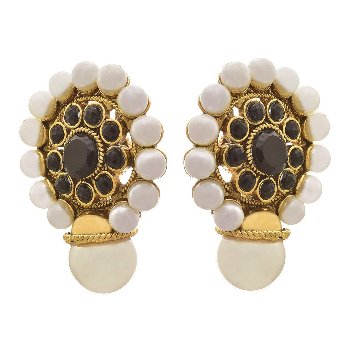 JFL- Traditional Ethnic One Gram Gold Plated Black Stone & Pearls Designer Earrings for Women and Girls.