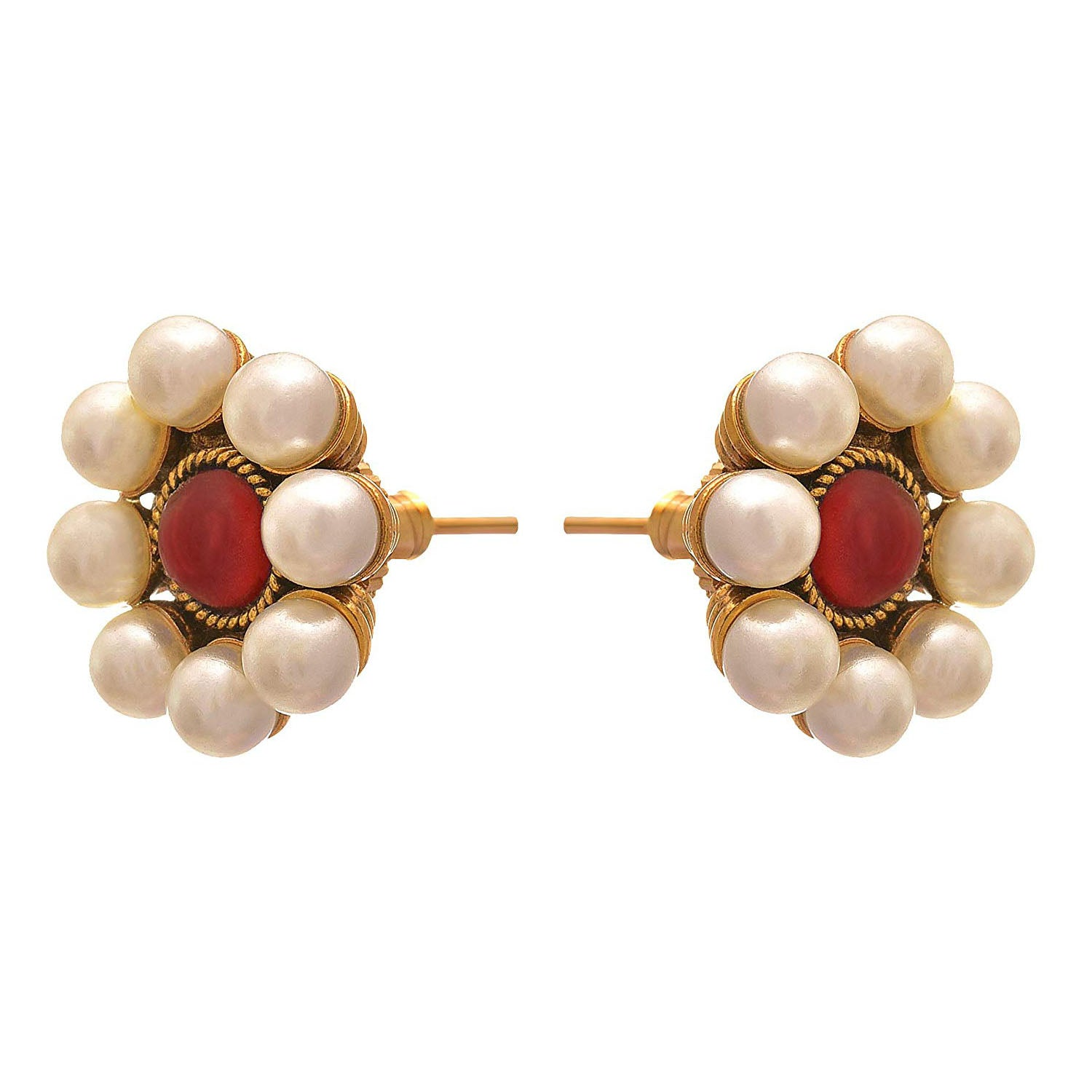 JFL - Traditional Ethnic One Gram Gold Plated Stone & Pearls Designer Stud Earring for Women & Girls.