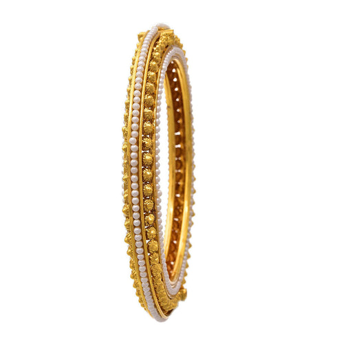 JFL -Traditional Ethnic One Gram Gold Plated Gold Beads & Pearls Designer Openable Bangle Set for Women & Girls.