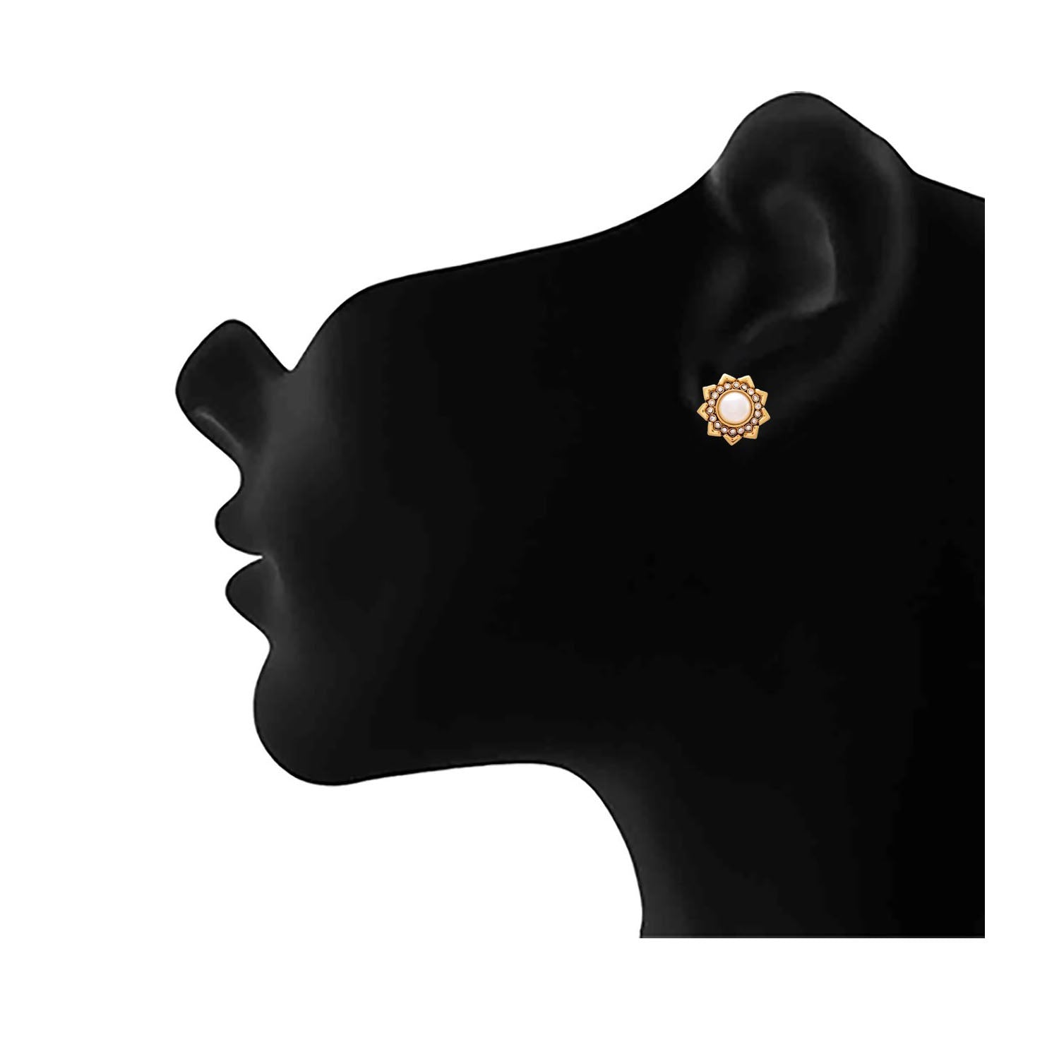 JFL - Traditional Ethnic Antique Pearl One Gram Gold Plated Stud Earring studded with Austrian Diamonds for Girls & Women