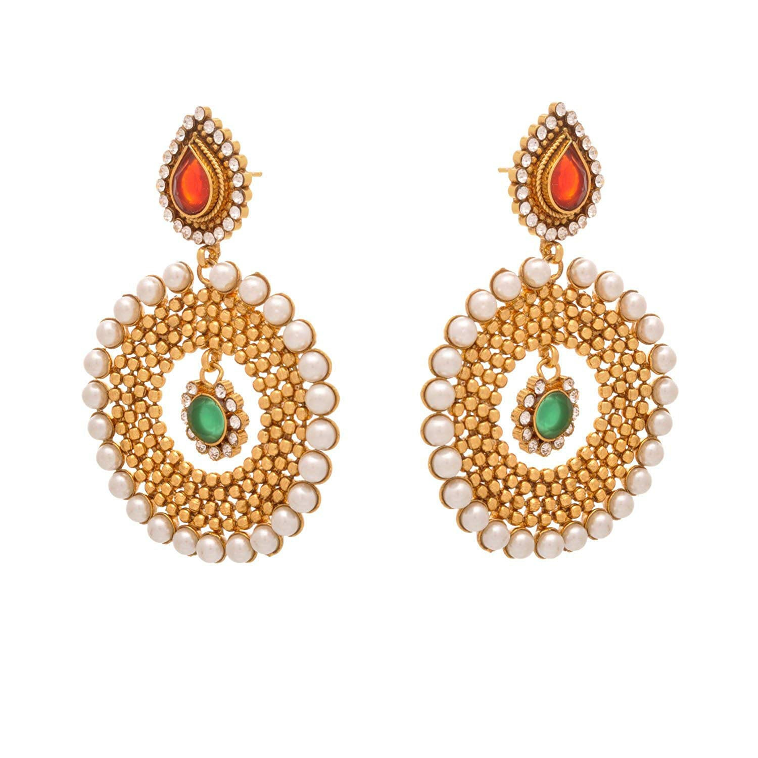 Traditional Ethnic Pearl One Gram Gold Plated Pearl Diamond Ruby Red & Emerald Green Stone Designer Earrings for Women & Girls.