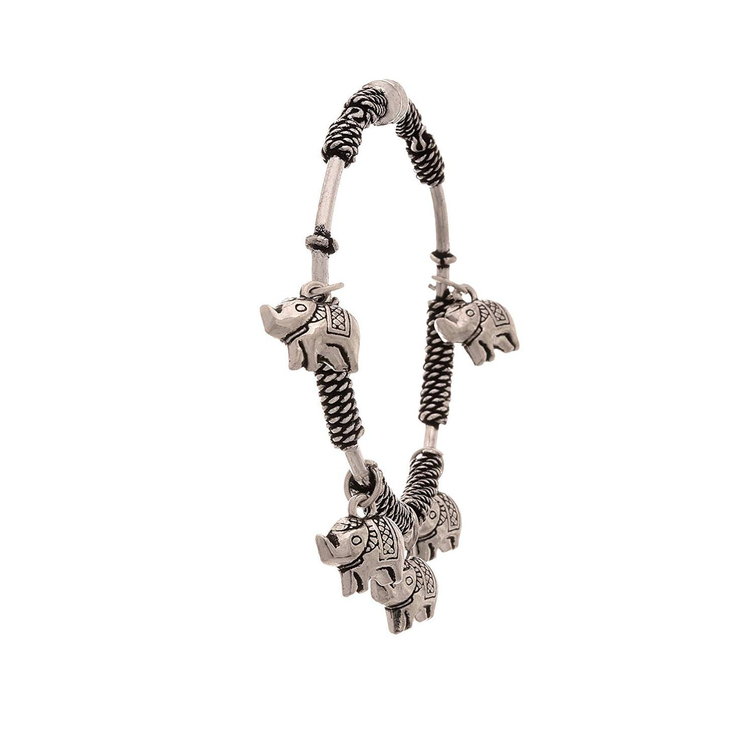 Traditional Ethnic Handmade German Silver Plated Oxidised Elephant Designer Cuff & Kadaa for Women & Girls.
