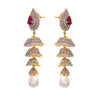 Jfl- Fusion Ethnic One Gram Gold Plated Cz American Diamond Earrings For Women And Girls.