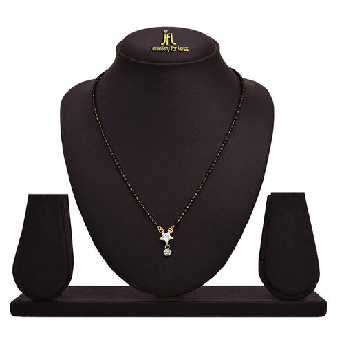 JFL -Traditional Fusion One Gram Gold Plated CZ Diamond Designe Mangalsutra with Black Beaded Chain for Women.