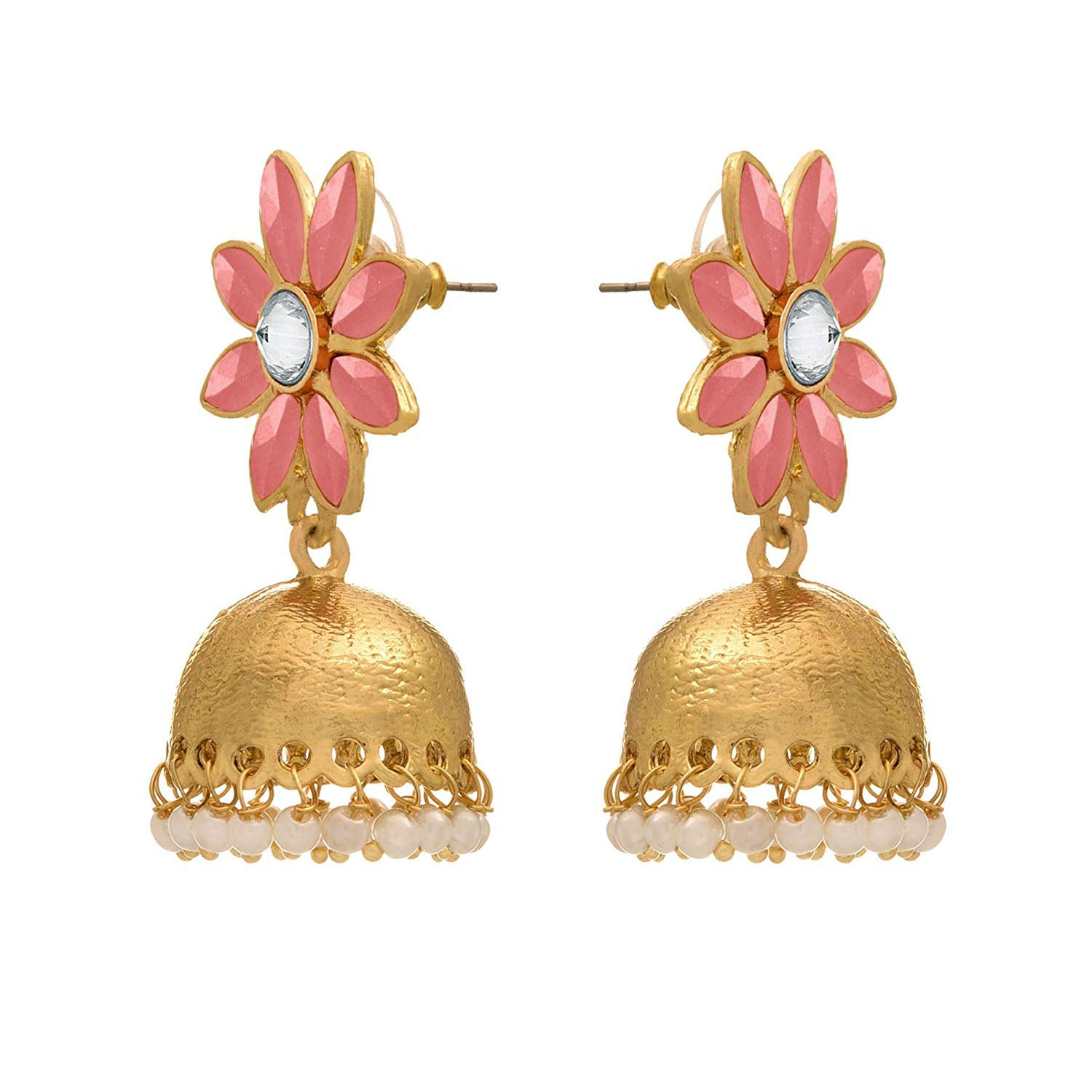 JFL - Traditional and Ethnic One Gram Gold Plated Floral Designer Jhumki Earring for Girls and Women