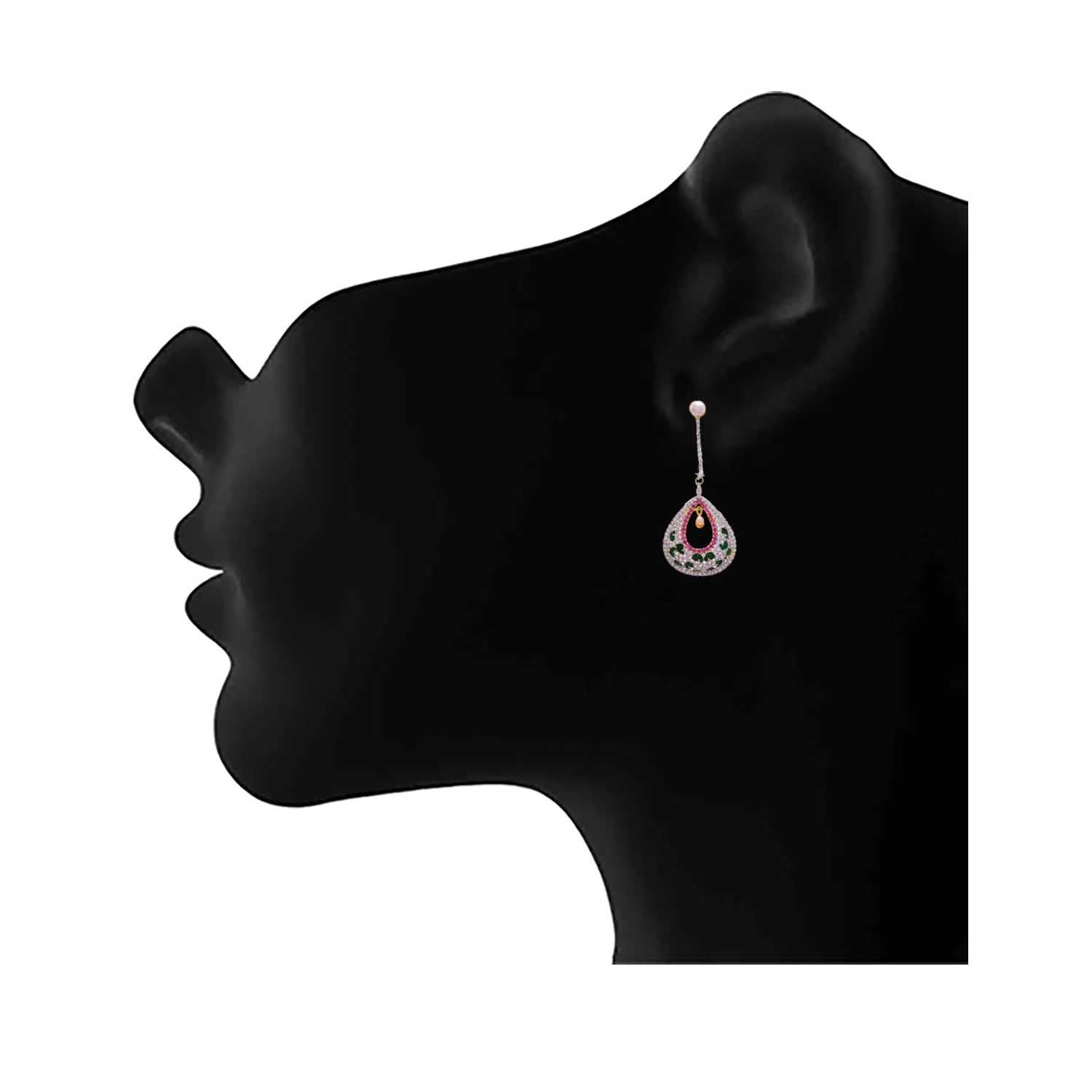 JFL - Delicate & Delightful American Diamonds & Pearl Pink Earring for Women & Girl.
