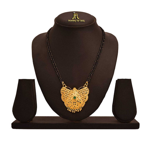 JFL - Jewellery For Less Traditional Ethnic One Gram Gold Plated Designer Mangalsutra With Double Black Beaded Chain For Women