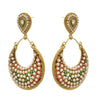 JFL - Traditional Ethnic One Gram Gold Plated Red Meenakari Pearls Designer Earring for Women & Girls.