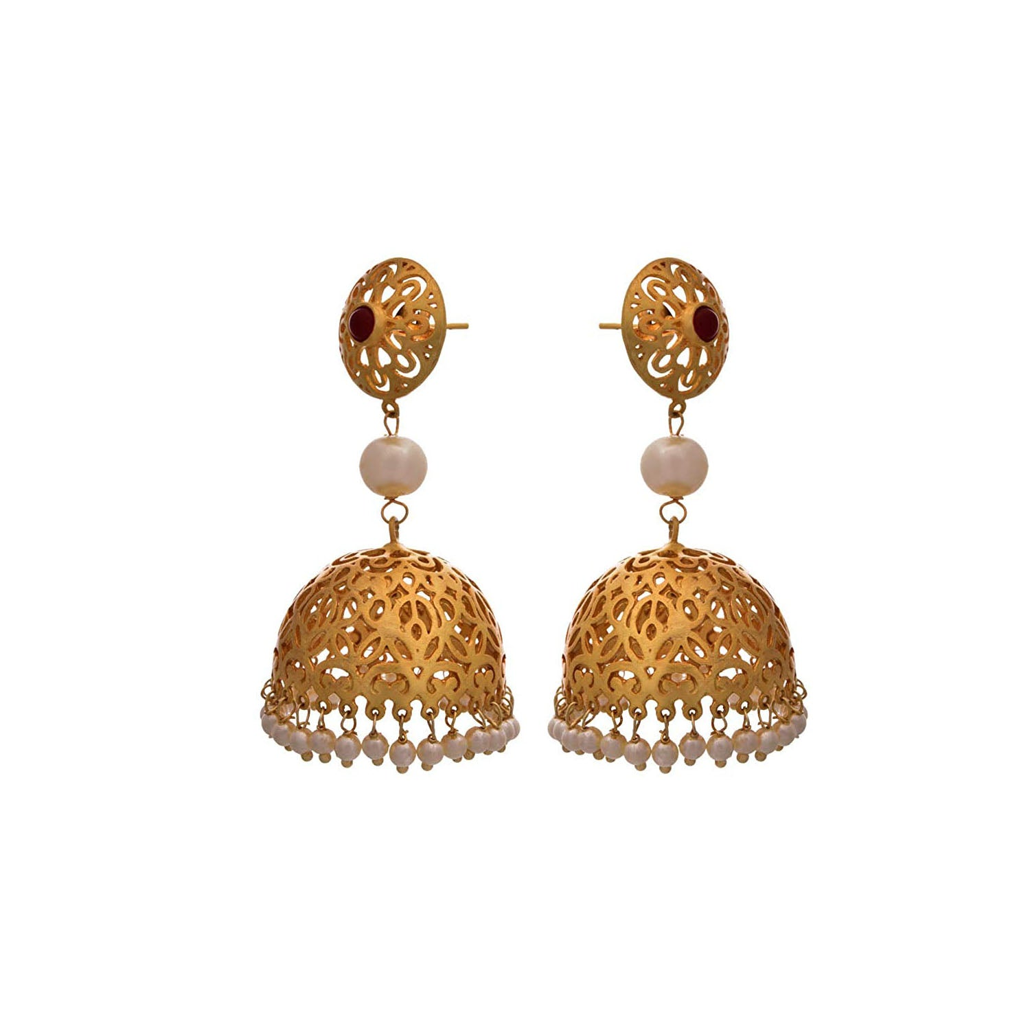 JFL - Ravishing Red Designer Gold Jhumka with Jali Work