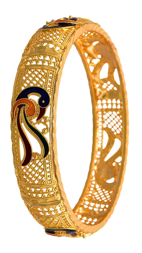 JFL - Jewellery For Less Traditional Designer Artificial Work Gold Plated Meenakari Peacock Bangle For Women's