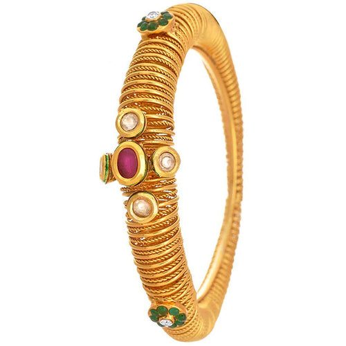 JFL-Ethnic & Exquisite One Gram Gold Plated Real Kundan Ruby Red Emerald Green Designer Openable Kada Bangle for Girl and Women