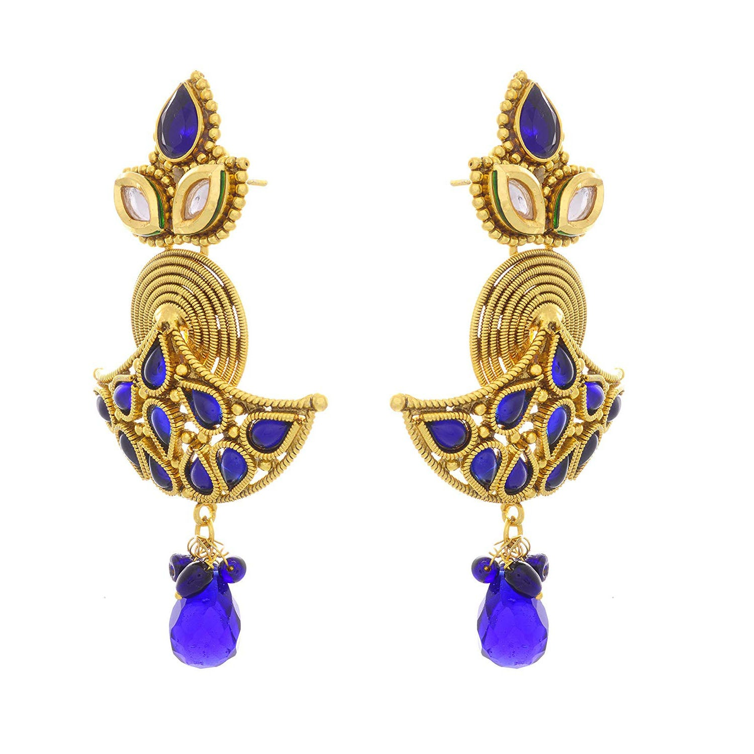 JFL - Jewellery for Less Traditional Ethnic One Gram Gold Plated Blue Stone Earring For Women & Girls.