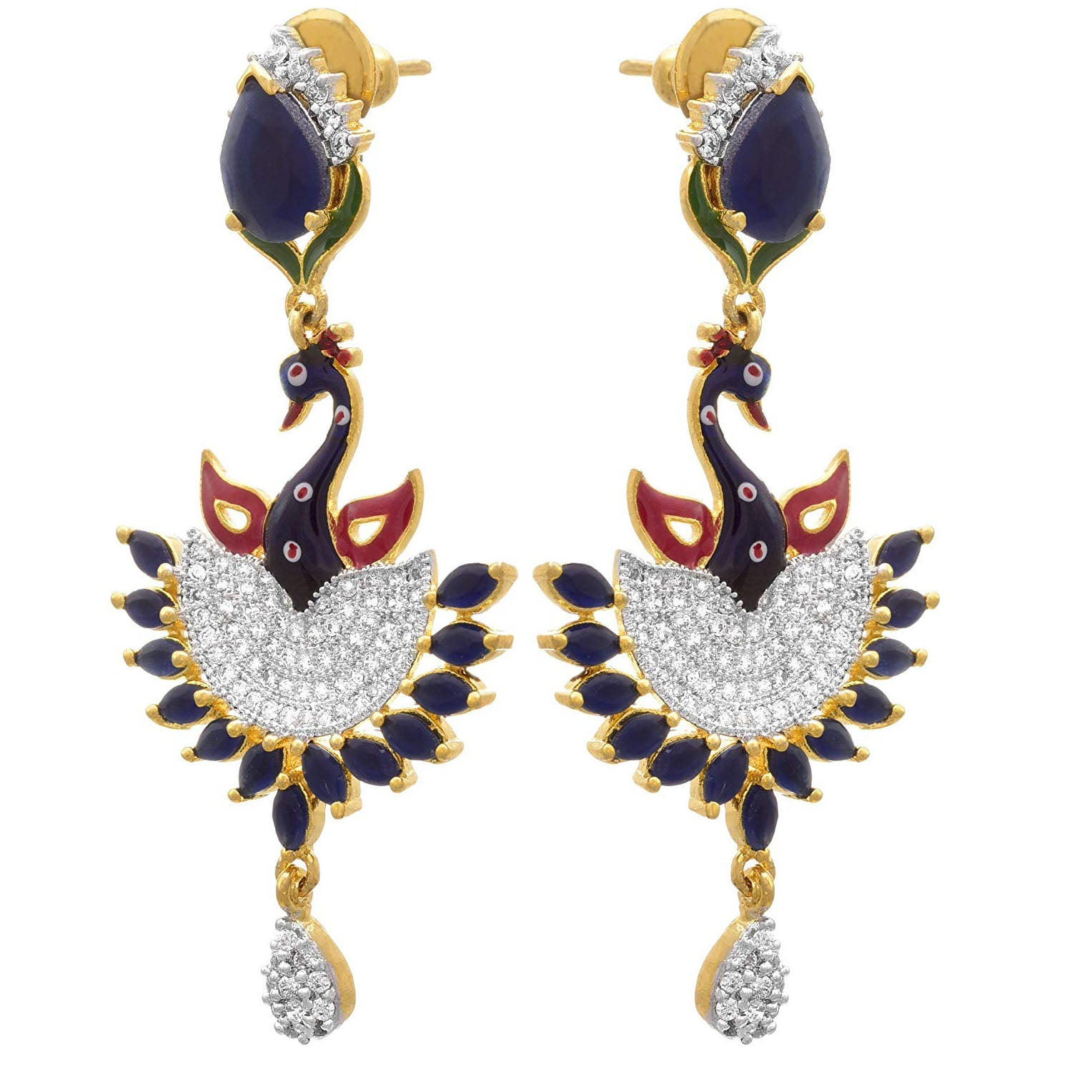 JFL - Traditional Ethnic One Gram Gold Plated Meenakari Peacock Blue Cz Diamond Designer Earring for Girls and Women.